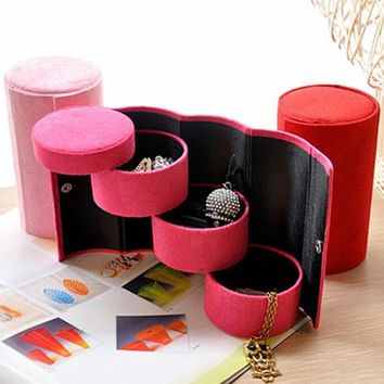 Portable 3 Tiers Compartment Cylinder Jewelry Box
