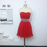 2014 short red chiffon prom dress with rhinestones,cheap sweetheart homecoming gowns,chic dress for holiday party hot.