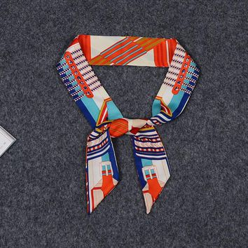 Geometric Match Fashion Style New Arrival Lady Silk Lengthen Twilly Bags Scarf Small Ribbon Hair Band Bandeaus Choker BD39