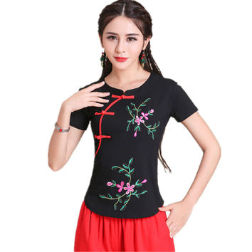 2017 Brand 5XL Women Blouse Shirt Summer Casual Quality Cotton Vintage Blusas Robe Embroidery Slim Body Tops Tee Ladies Clothing