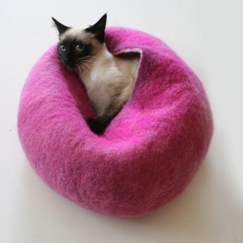 Cat Nap Cocoon / Cave / Bed / House / Vessel   Hand Felted Wool   Crisp Contemporary Design   Ready To Ship Hot Pink Bubble