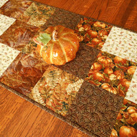 Quilted Fall Table Runner with Pumpkins and Leaves, Autumn Table Runner, Brown Gold Orange, Thanksgiving Table Decor, Quiltsy Handmade