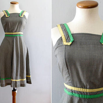 70s gingham dress - vintage sundress plaid sleeveless fit and flare boho black white yellow green full skirt knee length picnic summer xs