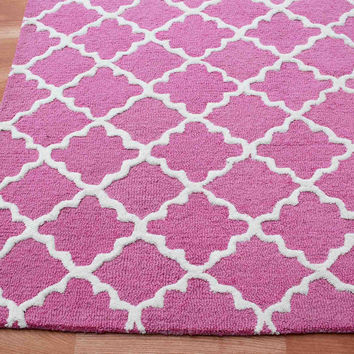Grill Pink 5 x 8 Floral Persian Style Wool Area Rug