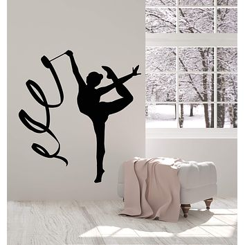 Vinyl Wall Decal Gymnastics Olympic Sport Girl Ribbon Stickers (2736ig)