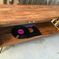Old fart (antique walnut color ) record / vinyl holder / entertainment center /tv stand / console. Reclaimed wood mid century modern