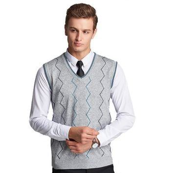 New Men's Sweater Sleeveless V neck Striped Knitted Sweater Men's Vest High quality Men's Casual Sweater Vest