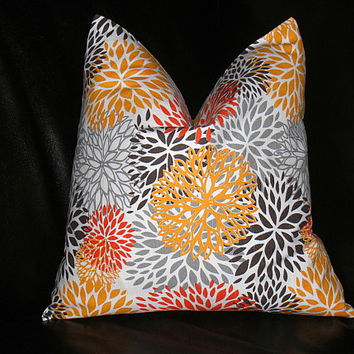 "Orange Pillow ONE Decorator Throw Pillow COVER 20 inch Tangerine, Brown, Gray 20"" Premier Prints Bloom"