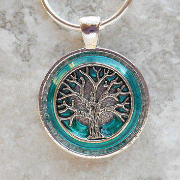 tree of life keychain: light blue - men keyring - mens keychain - tree keychain - celtic keychain - valentines day - nature - boyfriend gift