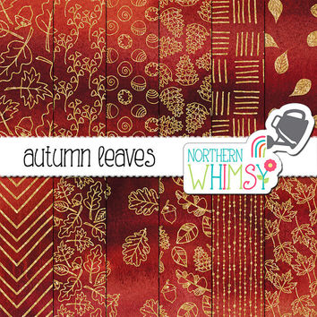 "Fall Digital Paper - ""Autumn Leaves"" - gold foil leaf patterns on a deep red watercolor background - fall scrapbook paper - commercial use"