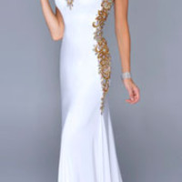 Nina Canacci 2014 Prom Dresses - Ivory Satin & Gold Filigree Strapless Gown