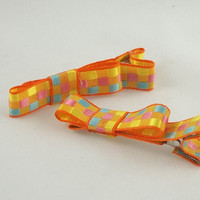 Orange multicolored squares hair clip small by theotherstacey