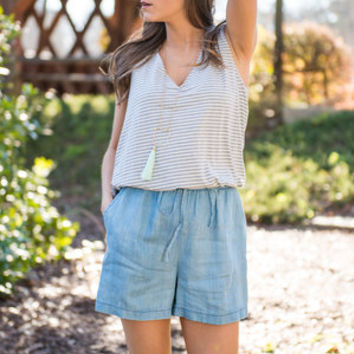 Double Trouble Romper, Chambray