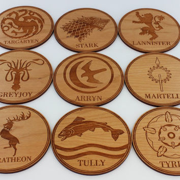 Custom Wood Coasters Set, Game of Thrones Family / House Name Coaster Set of 9, Cool Gift for Show Fans Customized by Froolu