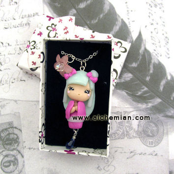 Kokeshi Japan doll ooak necklace made in italy by AlchemianShop