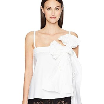 RED VALENTINO Stretch Compact Poplin Top with Bow and Boules