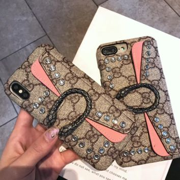 GUCCI Tide brand simple card wallet iPhoneX mobile phone case leather case 7plus hard shell Khaki