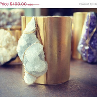 ON SALE LUX 3 Inch Natural Raw Chunky Brilliant Crystal Beautiful Bohemian Gemstone Wire Wrapped Cuff