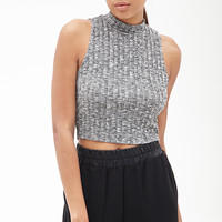 FOREVER 21 Marled Mock Neck Top Grey/White