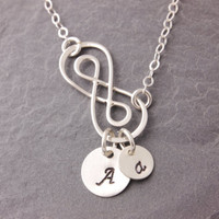 Mother Necklace, infinity necklace, eternity necklace, initial necklace, personalized, double infinity, mother daughter, new mom, N10