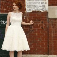 Lace Tea Length Retro Style Wedding Dress