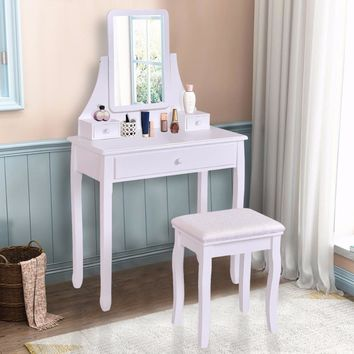 White Makeup Dressing Table Vanity Desk and Stool Set with Square Mirror and 3 Drawers
