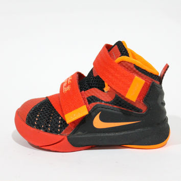 Nike Toddler's Lebron Soldier IX TD Red Velcro Baby Shoes