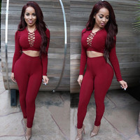 Red Long Sleeve Crisscross Crop Top and Bodycon Pants