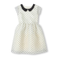 Short Sleeve Embellished Peter Pan Collar Printed Party Dress | The Children's Place