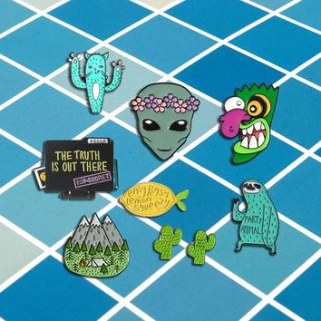 Singular pins collection Alien Animal Fruit Sloth Dinosaur Cat Lemon Peach UFO record book cactus Funny Brooch Gift for friend