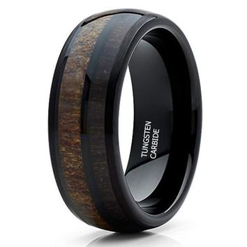 CERTIFIED 8mm Deer Antler Tungsten Carbide Cherry Wood Two Tone Wedding Band
