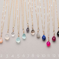 Delicate Gem Drop Necklace / Bridesmaid Necklaces in 14K Gold Fill, Rose Gold Fill, Sterling Silver / Delicate Gemstone Necklace LN604