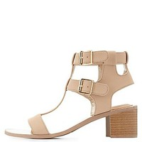 QUPID CHUNKY T-STRAP SANDALS