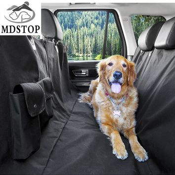 MDSTOP new Multi-function Car Pet Seat Cover with Pockets Zipper Hammock Rear Back Seat Dog protector Mat for Cars Trucks SUVs