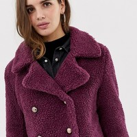 QED London double breasted maxi teddy coat | ASOS