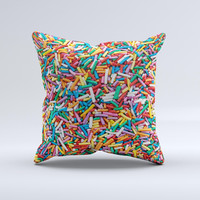 Colorful Candy Sprinkles ink-Fuzed Decorative Throw Pillow