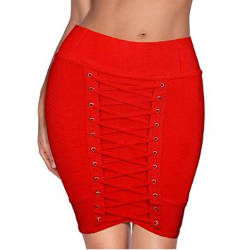 Ladies Red Corset Lace Up High Waist Bandage Skirt