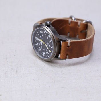 Leather Watch Strap Horween Leather English Tan Dublin Brushed Zulu Hardware