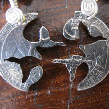 Flying Ducks Quarter, Cut Coin Jewelry