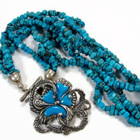 Carolyn Pollack Turquoise Necklace, Sleeping Beauty Turquoise Enhancer, Relios Silver, 3 Strands Turquoise Nugget, Sterling Silver, Necklace