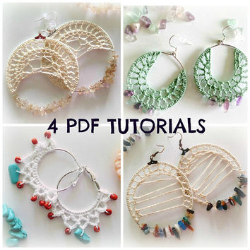 Set of 4 Earring Patterns, Crochet Jewelry PDF Pattern, Crochet Tutorials, Hoop Earrings Photo Ebook, DIY Earrings, Crochet PDF Tutorials