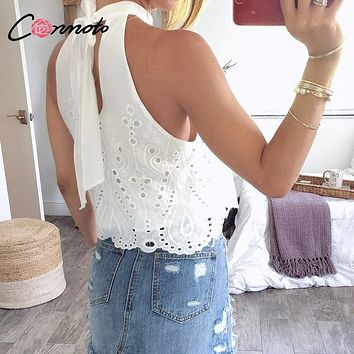 Conmoto White Embroidery Women Tops and Blouse 2019 Summer Off Shoulder Crop Female Lace up Hollow out Polka Dot Plus Size Shirt
