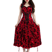 Victorian Gothic Bloody Merry Velvet Flocked Cameo Dark Side Red Cocktail Dress