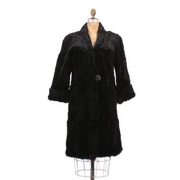 Vintage 40s Fur COAT / 1940s Ultra Soft Black Sheared BEAVER Fur Coat with Bakelite Button