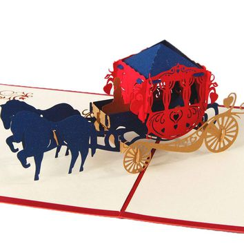 3D Pop Up Paper Laser Cut Greeting Cards Creative Handmade Kirigami Wedding lnvitations Love Carriage Postcards Wishes Gifts