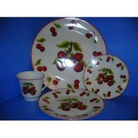 CHERRY 20pc Dinner Dish Set Cherries Dishes NEW!