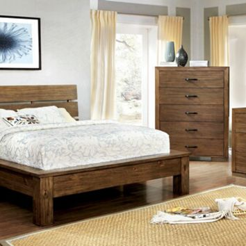 5 pc Roraima collection reclaimed pine wood finish wood Queen bed set with plank inspired style