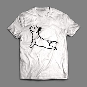 FUNNY FRENCH BULLDOG YOGA FITNESS T-SHIRT