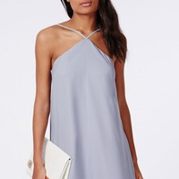 CREPE DIAGONAL STRAP SHIFT DRESS POWDER BLUE