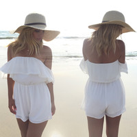 Sun's Delight Off Shoulder Romper In Ivory